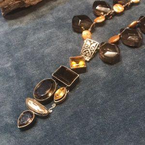 Smokey Quartz & Pearl Necklace & Sterling Pendant